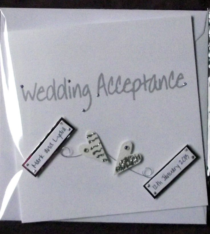 PERSONALISED  HANDMADE     WHITE  2 HEARTS    WEDDING ACCEPTANCE CARD       NEW