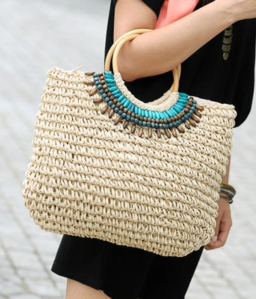 Beaded Straw Tote