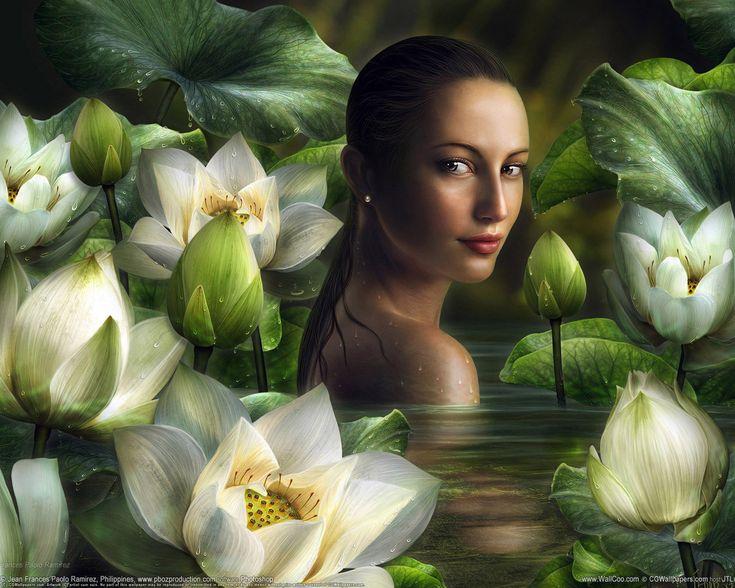 fantasy, art, girl, lotus, petals, ring
