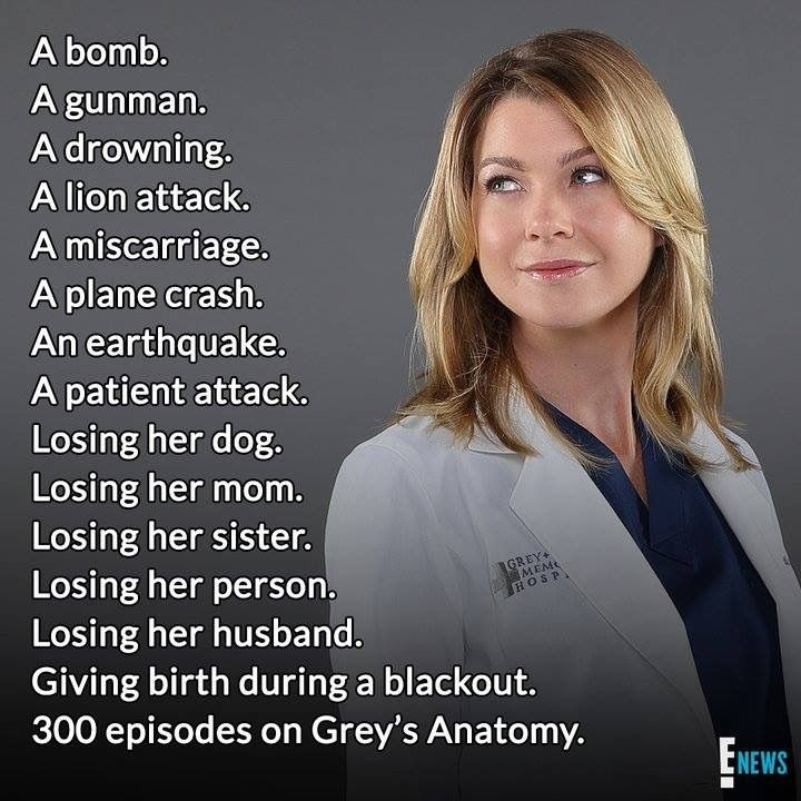 Grey S Anatomy Meredith S List Of Loss And Survived Greys Anatomy Funny Greys Anatomy Greys Anatomy Episodes