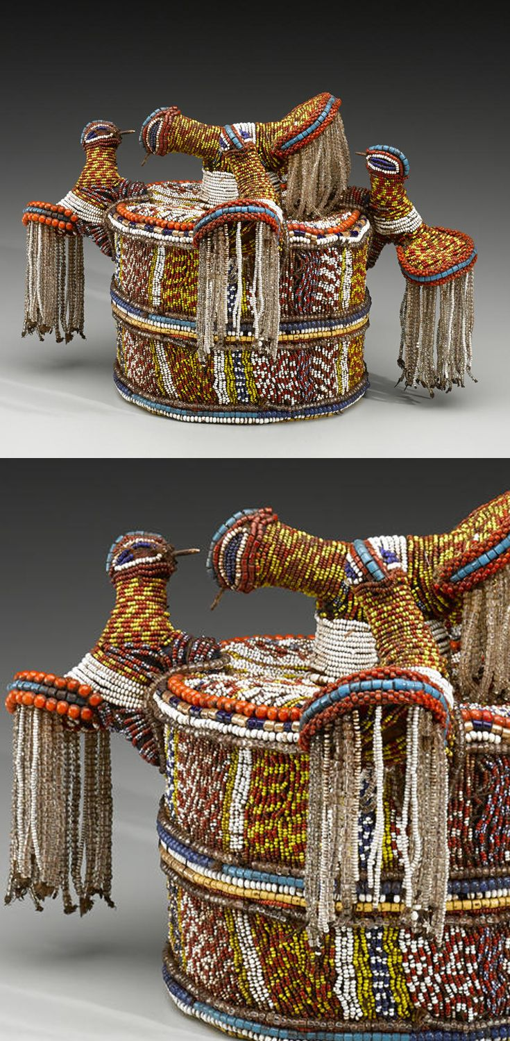 Africa | Hat ~ orikogbofo ~ from the Yoruba people of Nigeria | Cotton, raffia, glass beads | 20th century