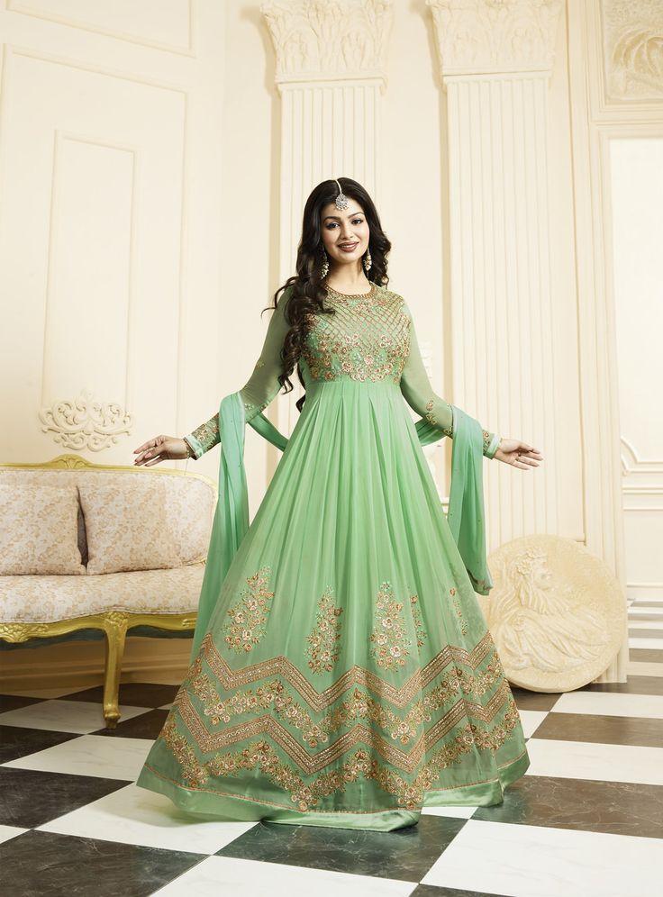 #Light #Green #Golden #Embroided #Anarkali #Suit
