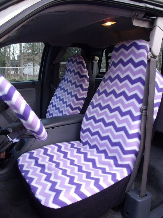 1 Set Of Purple And White Chevron Seat Covers The Steering Wheel Cover Custom Made