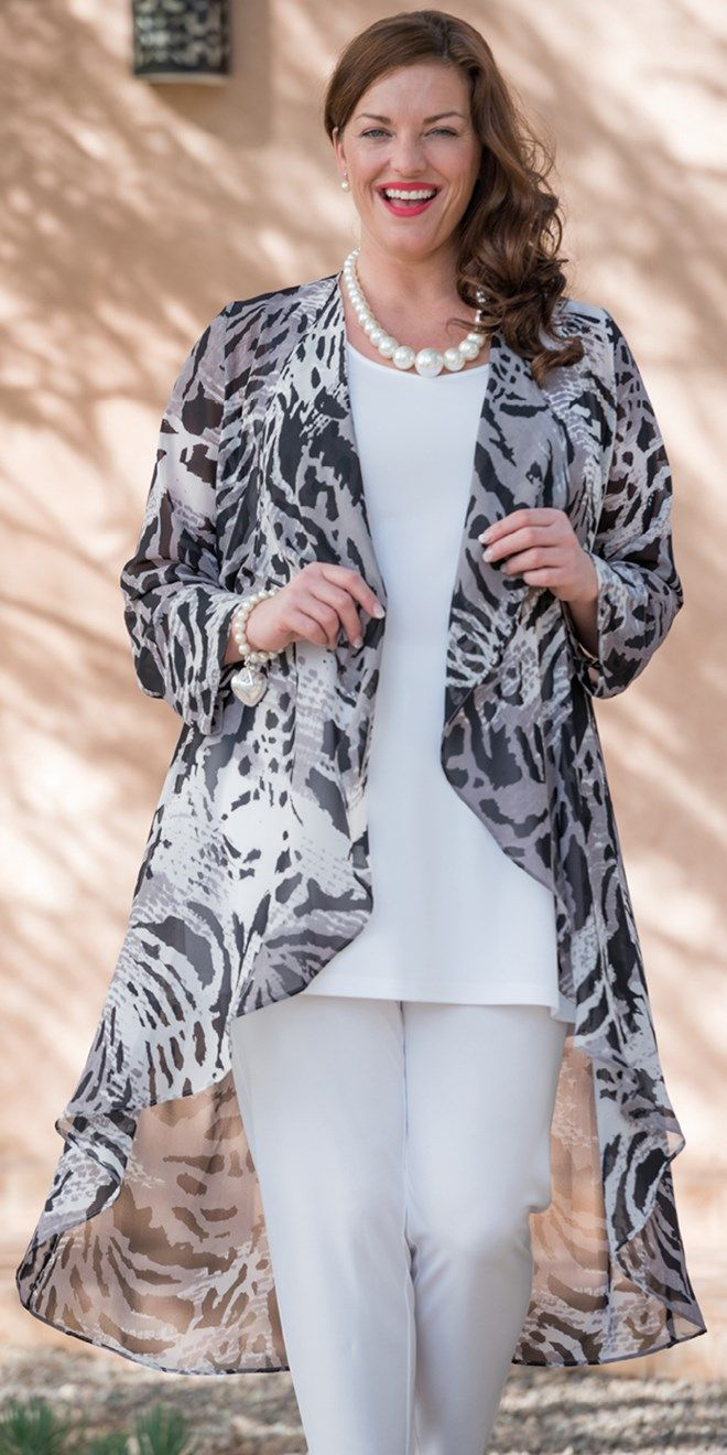 Box 2 black/grey chiffon print coat