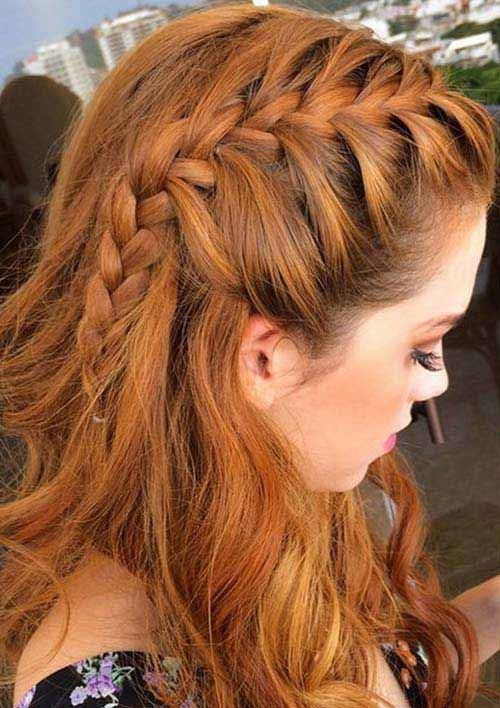 Different French Braids Hairstyles - Lob With Side French Braid Headband