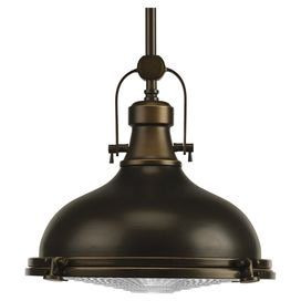 Highlighted by an industrial-chic shade and an oil rubbed bronze finish, multiples of this handsome pendant can be lined above your kitchen island or breakfast bar for a rustically refined feel.  Product: PendantConstruction Material: Metal and glassColor: Oil rubbed bronzeAccommodates: (1) 100 Watt incandescent bulb - not included Note: Dimmers can be used with any incandescent or halogen light bulbs