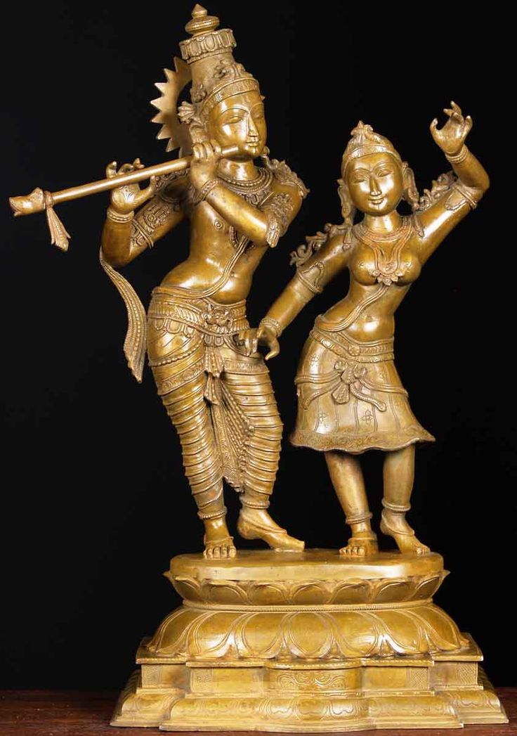 "Bronze Radha & Krishna Statue 24.5"" | Materials: Lost Wax Method South Indian Bronze|  http://www.lotussculpture.com/64b70.html"