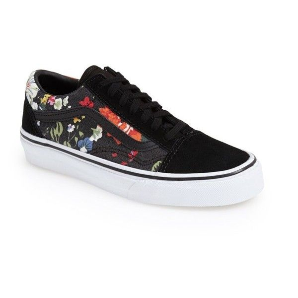 Women's Vans 'Old Skool' Sneaker (660 ARS) ❤ liked on Polyvore featuring shoes, sneakers, zapatillas, floral shoes, vans shoes, floral pattern shoes, flower print sneakers and floral printed shoes