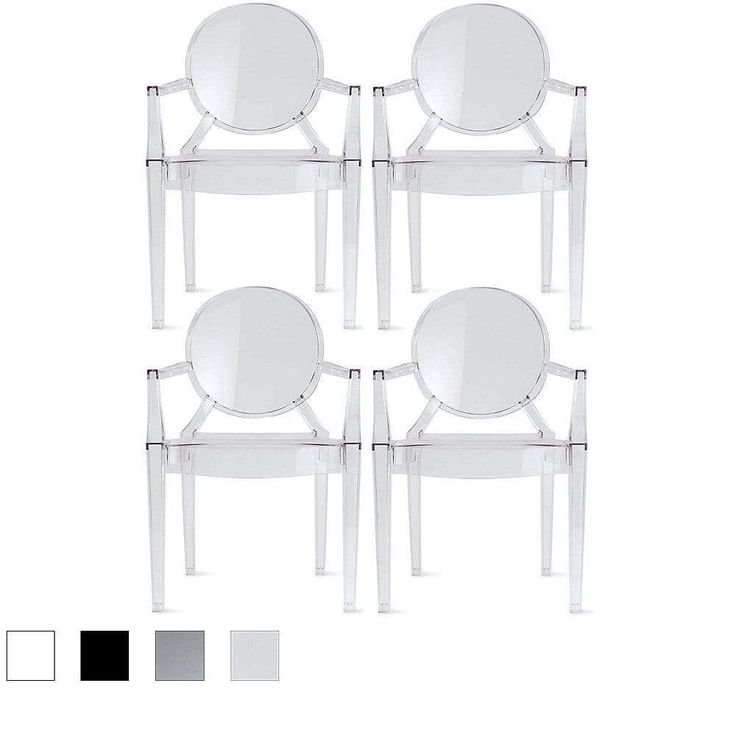 Set of 4, Modern Plastic Chairs Chairs Dining Chairs Clear #PlasticChair