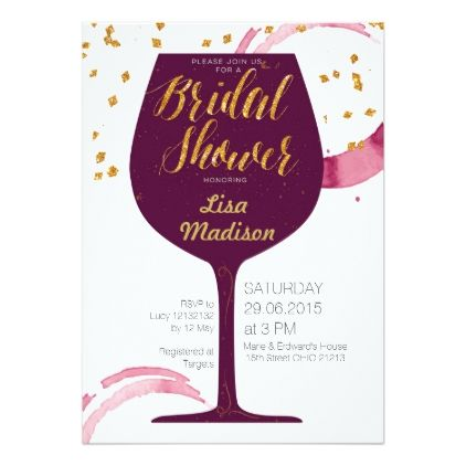 Winery or Wine Tasting Bridal Shower Invitation | Order your personalized invitation at https://www.facebook.com/BoardmanPrinting/