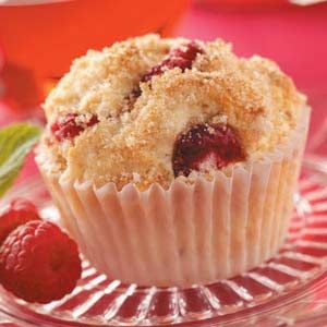 The BEST muffin recipe I've ever made. Substitute equal amount of your favorite fruit for the raspberries. Strawberry-rhubarb is my favorite.