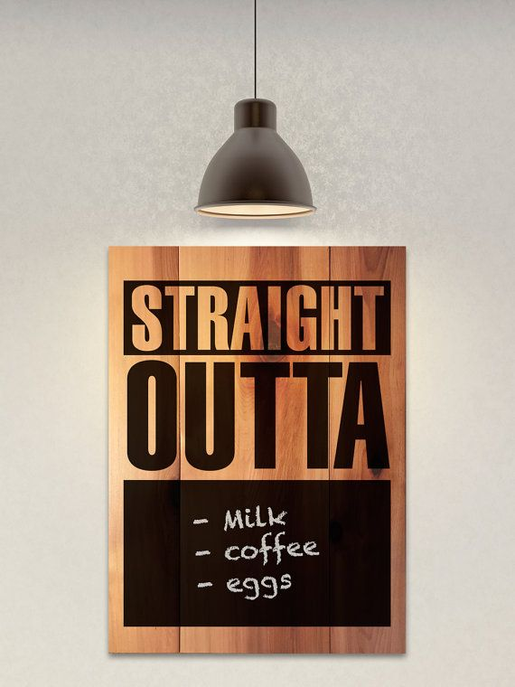 This chalkboard blackboard sign helps you write lists of what you're  straight outta! Let the hip hop thugs in your home know what to go shopping for in a gangster way. This real pine sign is light and durable and makes a perfect addition to your kitchen to let your roommate or spouse know what needs to be picked up. Better pick up that milk homie or she'll bust a cap in you. This sign is hand-crafted and hand painted with chalkboard paint so you can write on it and erase it.     We use FSC…