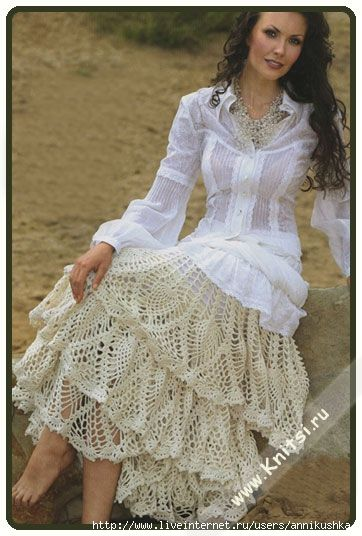 Lace Skirt Free Crochet Pattern (website in Russian, I use Chrome's translate feature to read in English)  http://www.liveinternet.ru/users/3770036/post158996698/