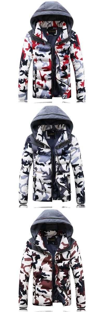 Mens Parka Jackets Fur Hooded 2016 Famous Brand Long Sleeve Camouflage Mens Parkas 4XL Winter Jacket Men V