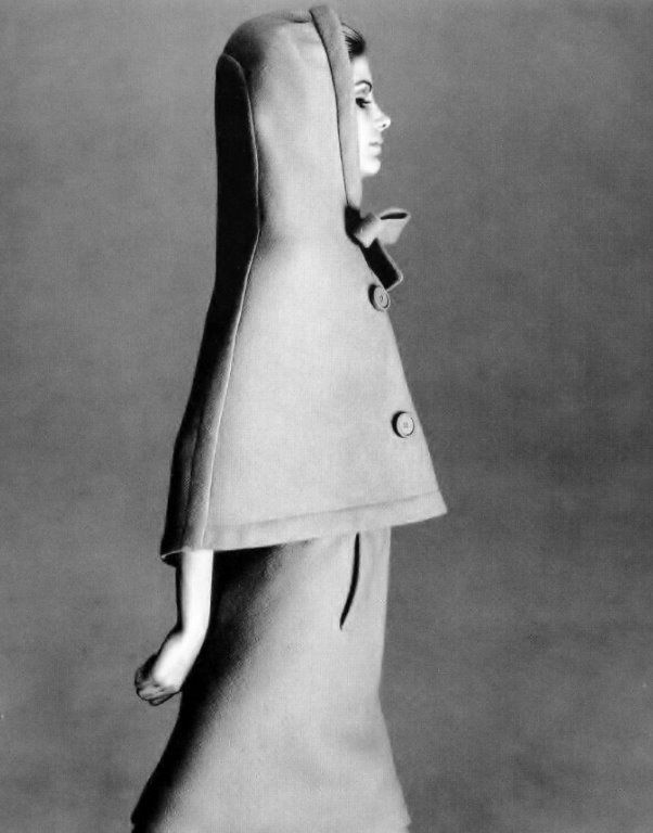 Vicki Hilbert in hooded capelet and dress by Pierre Cardin _ Photo by Norman Parkinson, Vogue, September 1965.