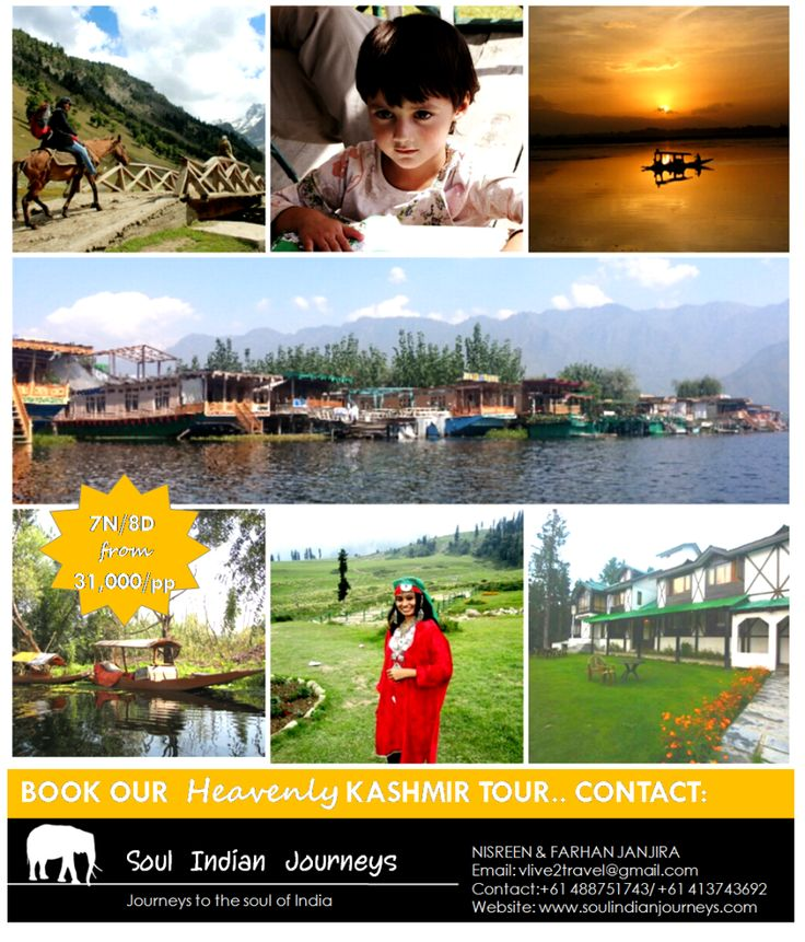 A 7N/8D offbeat tour package to Kashmir.Ex Srinagar, including stays in Srinagar,Gulmarg and Pehelgam .Contact us to book a holiday!