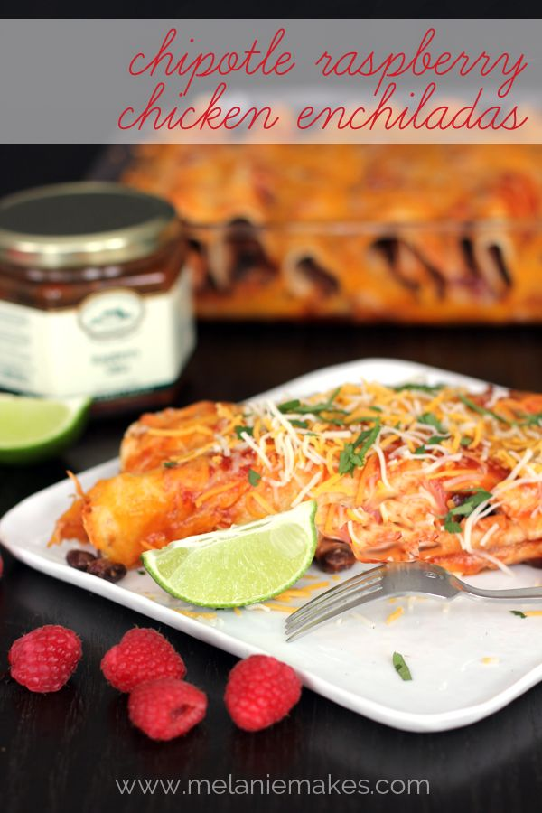 Chipotle Raspberry Chicken Enchiladas | Melanie Makes melaniemakes.com