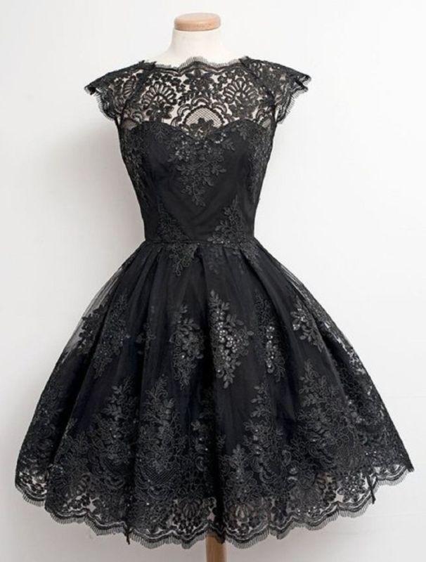 Damen Gothic Steampunk Spitzenkleid Kurzarm Festlich Kleid Schwarz XS S M L NEU