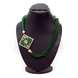 Green Neckpiece with Takkar Work