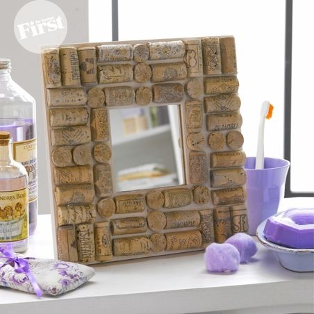 Mosaic-Style Cork Mirror - kinda like this. A wonderful way to recycle your wine corks. If you have them. :-)