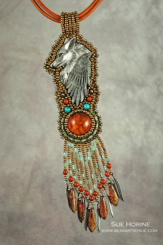 Amber and Pewter Raven and Wolf Bead Embroidered by sedonaskye