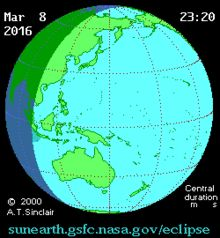 Éclipse solaire du 9 mars 2016 — visibilité