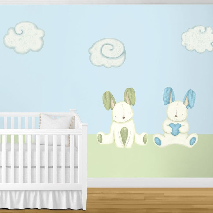 Beautiful Bunny Rabbits U0026 Cloud Wall Stickers   Decals For Bunny Theme Baby Room