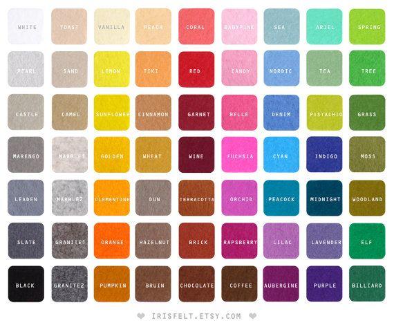 5 wool felt squares fabric pieces 20x30cm  Choose your by irisfelt, $9.50