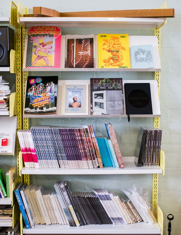 Books designed by Chase & Galley, displayed in Stuart's office.  Photo - Sean Fennessy