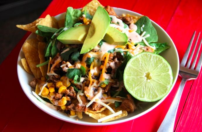 Ground Turkey and Taco Salad with Corn and Black Beans