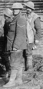 The British M1902 uniform as worn by Canadian troops in France and Belgium from 1916-1918. The soldier in back is wearing a leather jerkin which was very popular with both British and Canadian troops in cold weather.