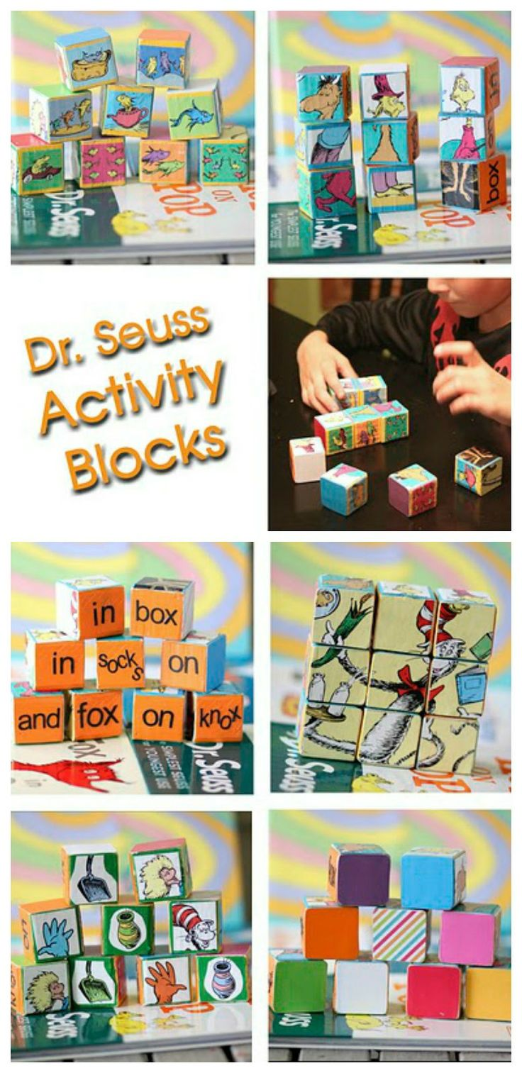 I love this Dr. Seuss craft - - take old books and make activity blocks - puzzle, matching, etc.  Such a fun project!! great for the classroom too.  There's how-to instructions on this one - - - Dr. Seuss Activity Blocks Tutorial ~ Sugar Bee Crafts