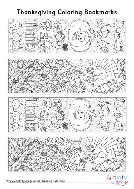 Thanksgiving doodle colouring bookmarks