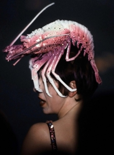 Really? A lobster? My guess is she's either really drunk, on drugs, or in a weird, high end  fashion show.  Philip Treacy (worn by Isabella Blow)