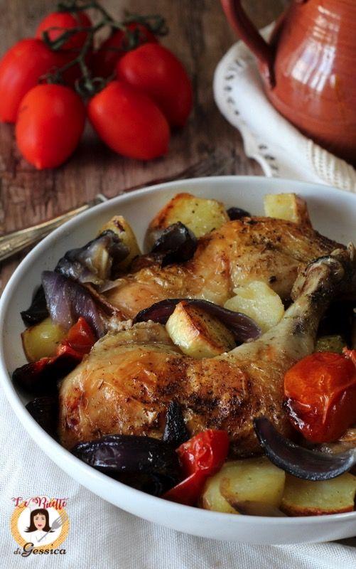 Cosce di pollo al forno con patate - Con segreto per non far seccare la carne in cottura