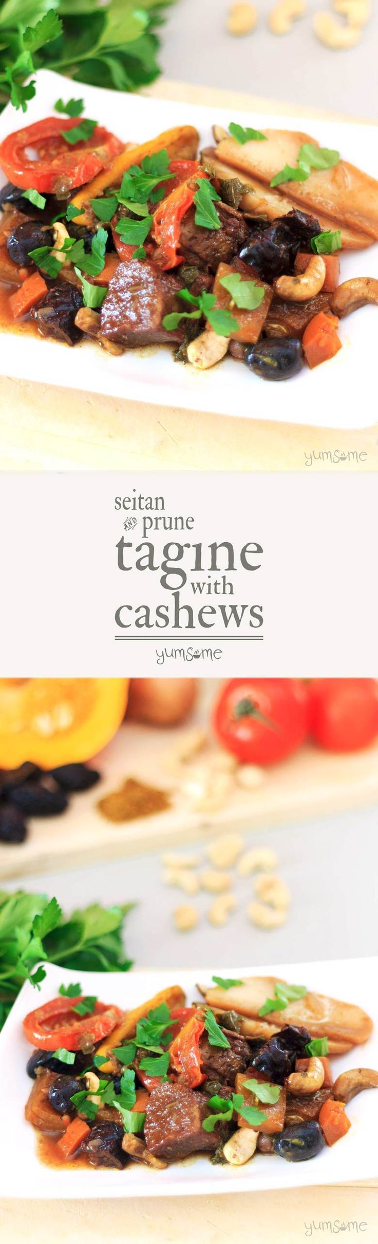 Tagines are among the easiest, and most delicious dishes in the world to make; my vegan tagine with seitan, prunes, and cashews takes just 35 minutes to cook. | yumsome.com