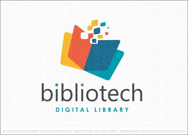 Logo for sale: Digital technology logo design of an open paged book. The pages of the book are design with clean geometrical shapes and digital pixels extending from the book to represent the digital transfer concept.