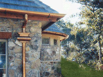 rutland installed radius half round copper gutters seamless round copper downspouts and copper rain collector - Decorative Downspouts