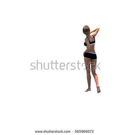a young and slender girl is standing with her back to the camera and covers her face with the right hand. Empty stage. 3D rendering, 3D illustration