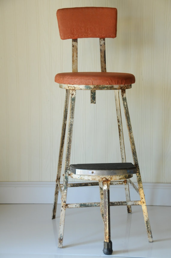 RESERVED FOR KAREN Vintage Kitchen Stool Step Stool Metal Stool Chair  Industrial Stool Metal Chair Tall Stool