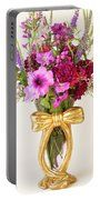 Flowers In Ribboned Vase  Portable Battery Charger by Sandra Foster