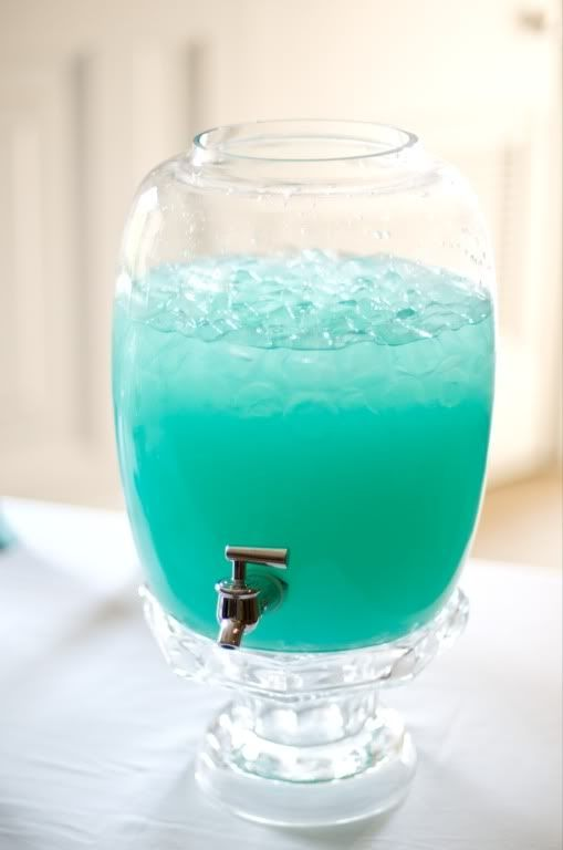 Tiffany Punch. Blue Hawaiian Punch, Lemonade, and vodka. Bridal Shower!