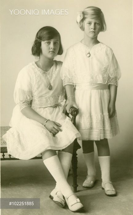Princess Theodora, later Margravine of Baden (1906-1969) with her younger sister, Princess Cecilie (known as Cecile), later Grand Duchess of Hesse-Darmstadt (1911-1937). Daughters of Prince and Princess Andrew of Greece (Alice of Battenberg), they are two of the four elder sisters of Prince Philip, Duke of Edinburgh.