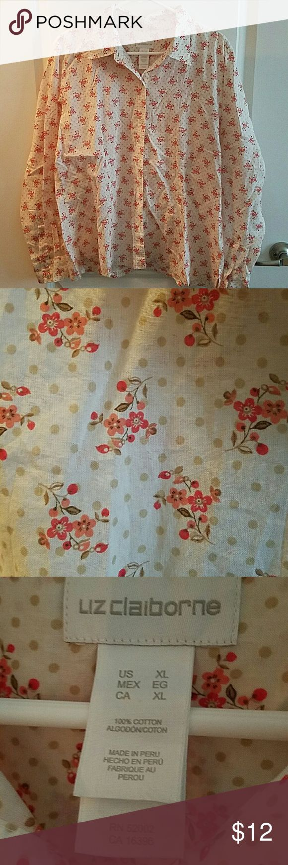 Liz Claiborne Women's Button Down Worn & washed once, in great condition! Liz Claiborne long sleeved button down shirt. Light weight with a beautiful floral design. This is not plus size. Pictured is detail up close with fabric buttons too. 100% cotton. It's overall light cream colored with polka dots and floral design. Comes from a smoke-free pet-free home. Liz Claiborne Tops Button Down Shirts