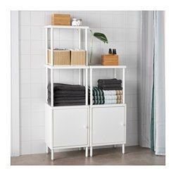 IKEA - DYNAN, Shelving unit with 2 cabinets, , Two functions in one piece of furniture – a cabinet with a door to hide away your things and open shelves for clean towels and things you want close at hand.There is room for up to 8 bath towels in the space between the shelves.The open shelves mean that you easily see and reach your things.The shelf unit is wide and shallow – two features which create a lot of space for your things and also give you more floor space to easily move around.You…