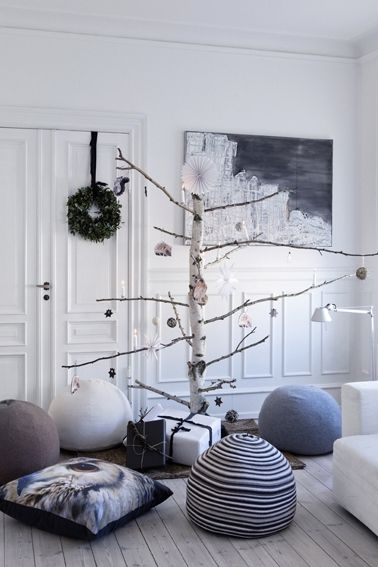 A Nordic Christmas tree made with a birch tree branch.  Looks cuter with small branches at top and larger/longer ones on bottom.