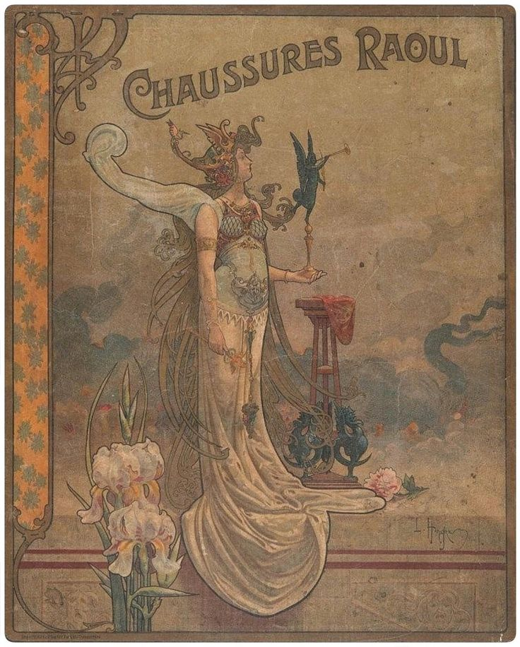 "songesoleil:  "" Chaussures Raoul.  Color Lithograph.  39 x 31 cm.  Art by Louis Théophile Hingre.(1832-1911).  """