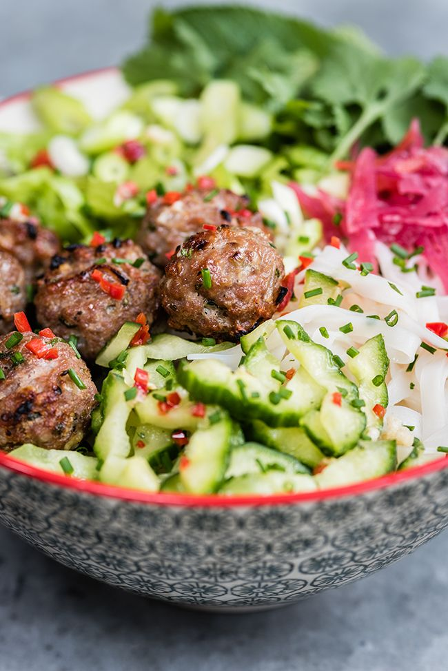 Vietnamese Pork Meatballs with Rice Noodle Salad (Bun Cha)