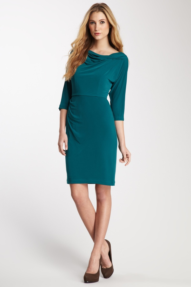Suzi Chin 3/4 Length Sleeve Draped Shoulder Dress