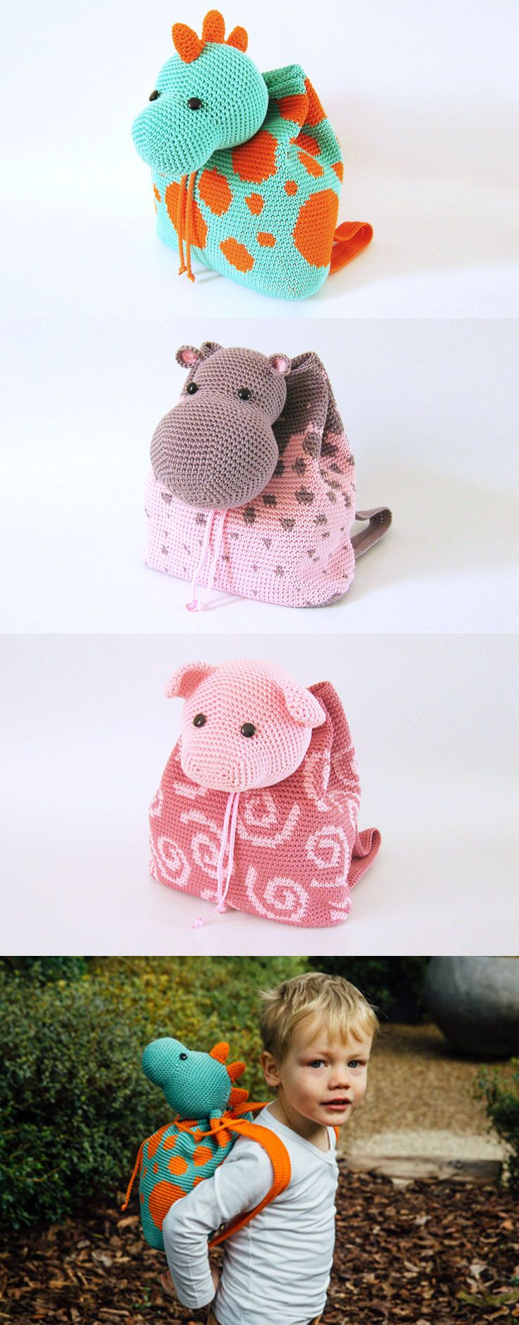 Dino, hippo and pig backpacks, that will quickly become kids' best buddies, for amusing and active outings. A child's life is filled to the brim with different activities and outings, and what better way to keep it all organized than with cute and soft amigurumi bags?